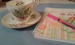 tea cup, journal