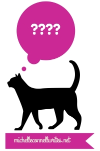 black cat with question marks