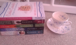 tea cup, Cookie Encounter book, fiction books