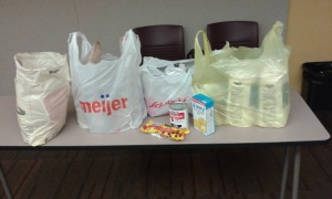 bags of flour, sugar, etc for O'Fallon pantry from Cookie Encounter book signing