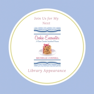 library graphic with Cookie Encounter book cover
