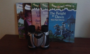 chapter books and binoculars