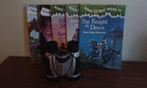 chapter books and binoculars
