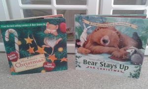 Bear Stays Up and Mortimer's Christmas Manger both books by Karma Wilson and Jane Chapman